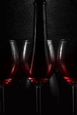 Preview iPhone wallpaper Three glass cups of wine, bottle, darkness