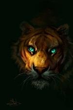 Tiger, green eyes, black background, art painting