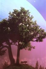 Trees, moon, colorful bubbles, creative design