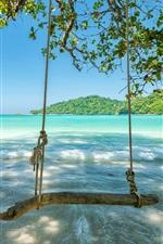 iPhone обои Тропик, море, волны, качели, деревья