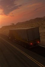 Preview iPhone wallpaper Truck, road, speed, sunset