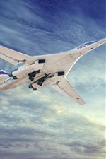 Preview iPhone wallpaper Tu-160 aircraft flying, White Swan, sky, clouds
