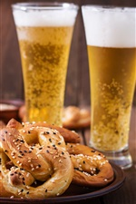 Preview iPhone wallpaper Two cups of beer, bread