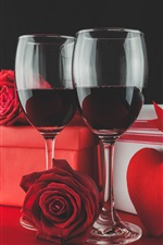 Preview iPhone wallpaper Two cups red wine, rose, gift, love heart, romantic