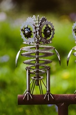 Two metal owls, creative art