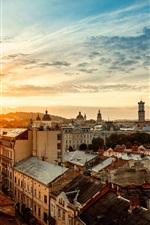 Ucrânia, cidade, casas, manhã, nascer do sol
