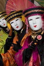 Preview iPhone wallpaper Venice, Italy, carnival, costume, umbrella, mask