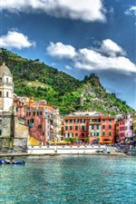 Preview iPhone wallpaper Vernazza, Italy, port, boats, city