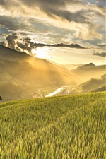 Preview iPhone wallpaper Vietnam, rice field, mountains, slope, house, morning, clouds, sunrise