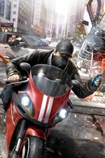 Preview iPhone wallpaper Watch Dogs, Ubisoft game, motorcycle, gun