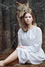 Preview iPhone wallpaper White clothes girl and wolf