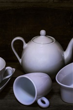 Preview iPhone wallpaper White cups, kettle, still life