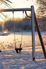 Preview iPhone wallpaper Winter, snow, swing, sunshine, morning