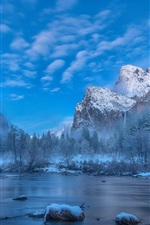 Preview iPhone wallpaper Winter, snow, trees, mountains, river