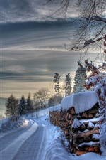 Preview iPhone wallpaper Winter, thick snow, road, trees, slope