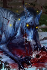 Preview iPhone wallpaper Wolf and crow, blood, art painting