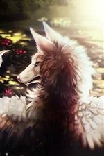 Vorschau des iPhone Hintergrundbilder Wolf, Flügel, Kunstmalerei
