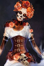 Preview iPhone wallpaper Woman, makeup, death style, rose, creative design