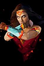 iPhone обои Чудо-женщина, супергерой, арт-стиль, черный фон