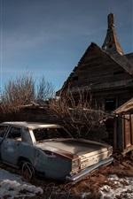 Preview iPhone wallpaper Wood house, broken car, snow, winter