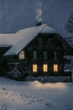 iPhone fondos de pantalla Casa de madera, luces, nieve, invierno, noche