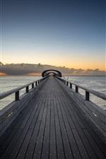 Preview iPhone wallpaper Wooden bridge, sea, clouds, dusk