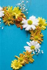 iPhone壁紙のプレビュー 黄色と白のカモミール花、青い背景