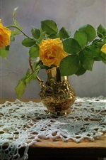 Preview iPhone wallpaper Yellow roses, vase, table