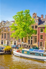 Amsterdam, Netherlands, boats, river, city, houses