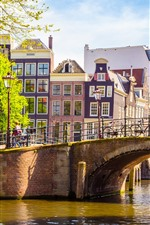 Preview iPhone wallpaper Amsterdam, Netherlands, bridge, river, buildings, people