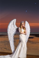 iPhone обои Девочка ангела, белые крылья, побережье, море, планета
