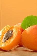 Preview iPhone wallpaper Apricots, fruit, leaf, cinnamon