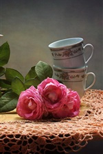 Preview iPhone wallpaper Apricots, pink roses, kettle, cups, still life
