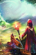 Preview iPhone wallpaper Art painting, fantasy world, castle, fox, wings, fire, people