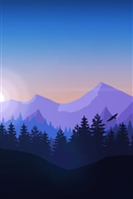 Preview iPhone wallpaper Art picture, mountains, trees, sun, deer