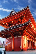 Preview iPhone wallpaper Asakusa Kannon Temple, evening, lights, blue sky, Tokyo, Japan