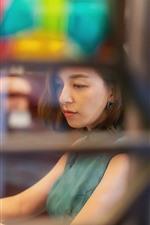 Preview iPhone wallpaper Asian girl, short hair, lamp