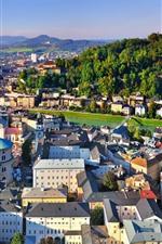 Preview iPhone wallpaper Austria, Salzburg, city, houses, river, bridge