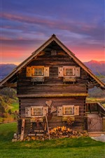 Preview iPhone wallpaper Austria, mountains, hut, trees, grass, sunset