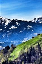 Austria, mountains, slope, trees, village, blue sky