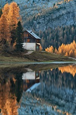 Preview iPhone wallpaper Autumn, forest, lake, mountains, houses