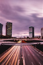 Preview iPhone wallpaper Barcelona, Spain, road, buildings, city, lights, dusk