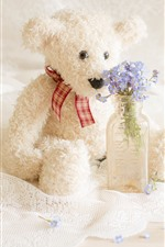 Bear toy and blue flowers
