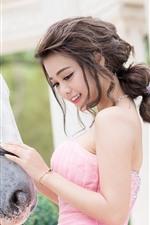 Preview iPhone wallpaper Beautiful Asian girl, pink skirt, horse