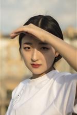 Linda menina chinesa, mão, sol