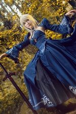 Preview iPhone wallpaper Beautiful girl, cosplay, blue skirt, sword, forest