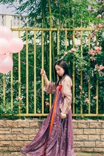 Preview iPhone wallpaper Beautiful young girl, flowers, fence, pink balloons