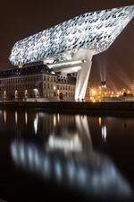 Preview iPhone wallpaper Belgium, Antwerp, city, night, illumination