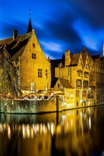Preview iPhone wallpaper Belgium, Bruges, night, lights, river