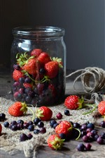 Preview iPhone wallpaper Berries, strawberry, blueberry, jar, still life